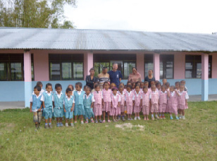 Painting and installing windows in the kindergarten