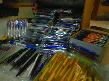 We could only gasp and smile when we opened cardboard boxes full of wonderfully varied and colourful pens. Having already distributed pens previously donated by Rotary to school students we know how happy this gift will make them.