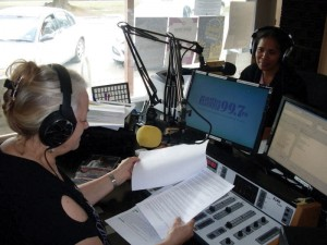 Being interviewed by Christel at Mansfield Community Radio