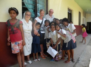 Ann Eldred, Ken Hall, Sister Maria and some of the girls who live at the Orphanage in Venilale