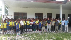 Visiting the remote Junior High School at Uai Laco to deliver more soccer and basketballs