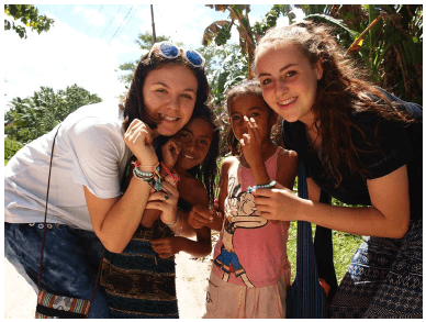 Katy and Zarah enjoyed teaching the girls at the orphanage how to make friendship bracelets