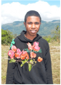 Nelio Jacinto S.Pereira – Year 11 at Sen-ior High School- new 2015. He is 16 and has two sisters and three brothers. His parents are both dependent on the invalid pension. His favourite subjects are English and Social Studies and he would like to continue his studies at university.