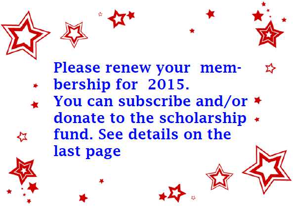 Please renew your membership for 2015