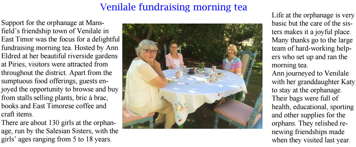 Venilale fundraising morning tea